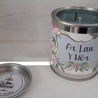 Ar Lan Y Mor candle. Rose scented candle. Flower scented candle. Vegan soy candle. Vegan scented candle. Welsh candle.