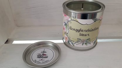 Llongyfarchiadau mawr candle. Cake scented. Vegan candle. Welsh candle. Soy wax candle. Congratulations. Handmade in Wales, UK