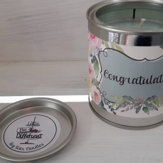 Congratulations candle. Cake scented. Vegan candle. Welsh candle. Soy wax candle. Congratulations. Handmade in Wales, UK