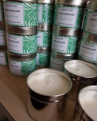 Labeling a bespoke candle restock with the doors wide open and the birds singing.  Bliss #wholesale #bespokewholesale #whitelabelcandles #tourismgifts #souvenir